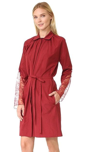 Nina Ricci Poplin Dress with Lace Sleeves