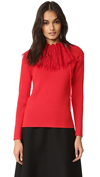 Nina Ricci Long Sleeve Knit Pullover - Bright Red