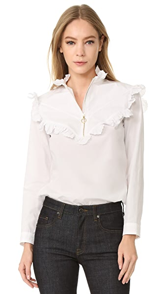 Nina Ricci Long Sleeve Ruffled Top