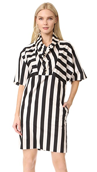 Nina Ricci Striped Cowl Neck Dress online sales