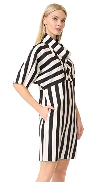 Nina Ricci Striped Cowl Neck Dress