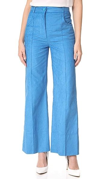 Nina Ricci Velvet Rib Trousers - Turquoise