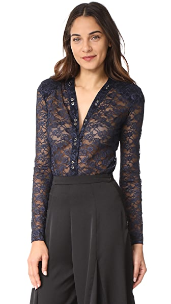 Nina Ricci Stretch Lace V Neck Bodysuit - Navy