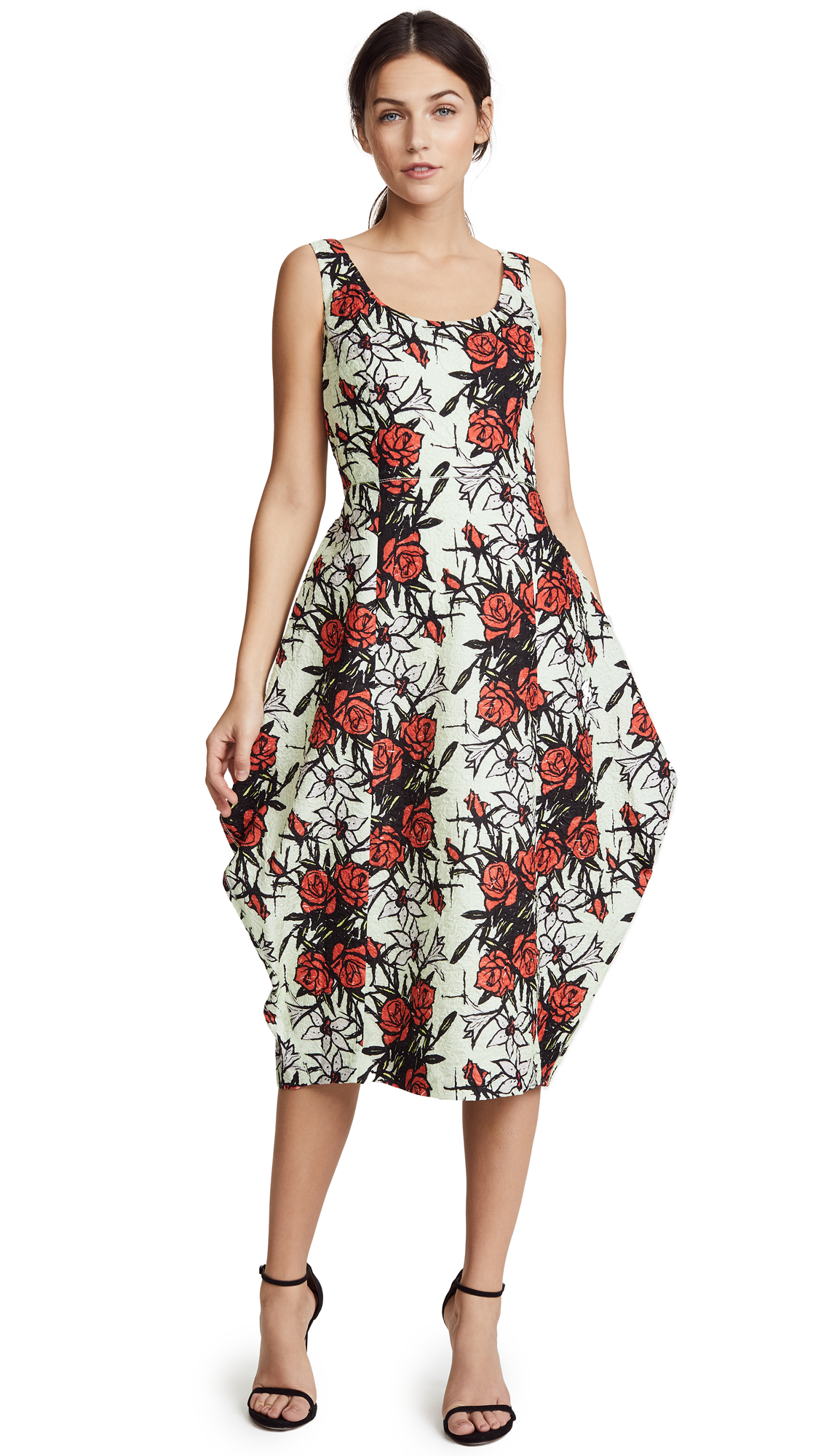 Nina Ricci Flowers Printed Waffle Dress - Celadon/Red