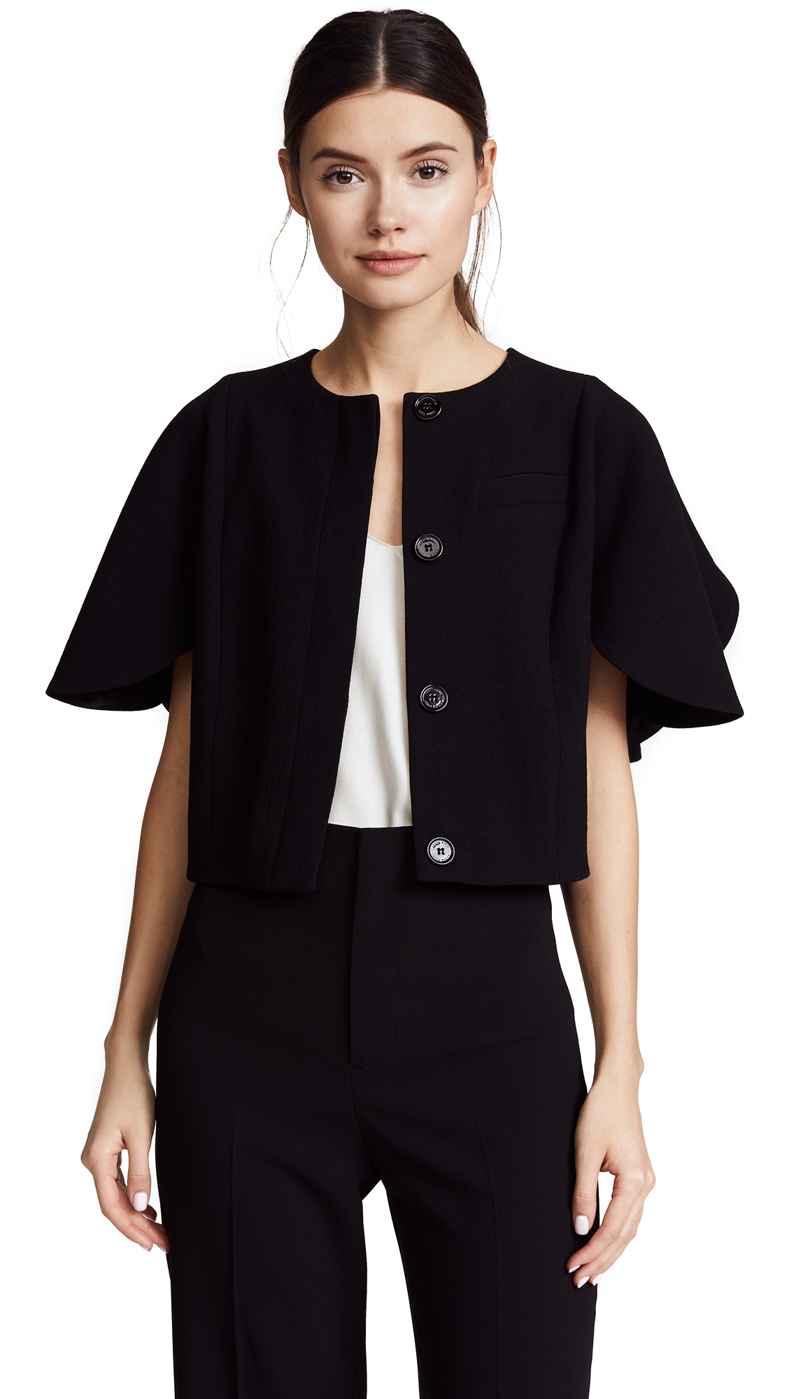 Nina Ricci Stretch Wool Crepe Short Jacket - Black
