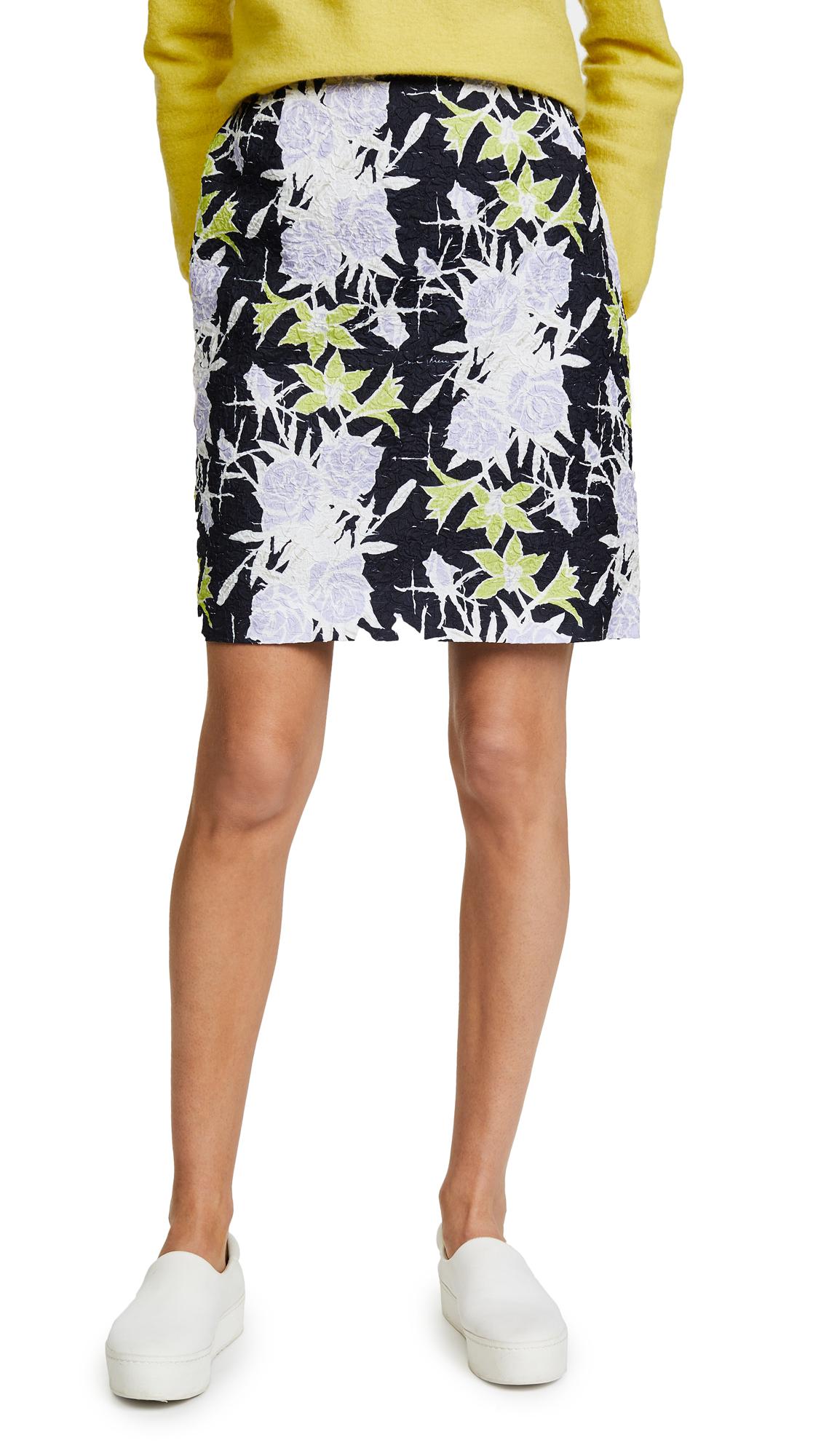 Nina Ricci Flowers Printed Waffle Skirt - Navy/Lilac