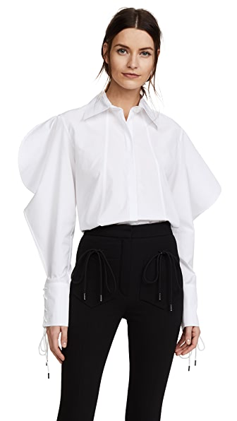 Nina Ricci Structured Sleeve Cotton Poplin Shirt In White