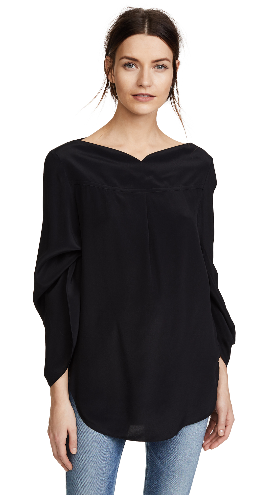 Nina Ricci Boat Neck Blouse with Adjustable Sleeves - Black