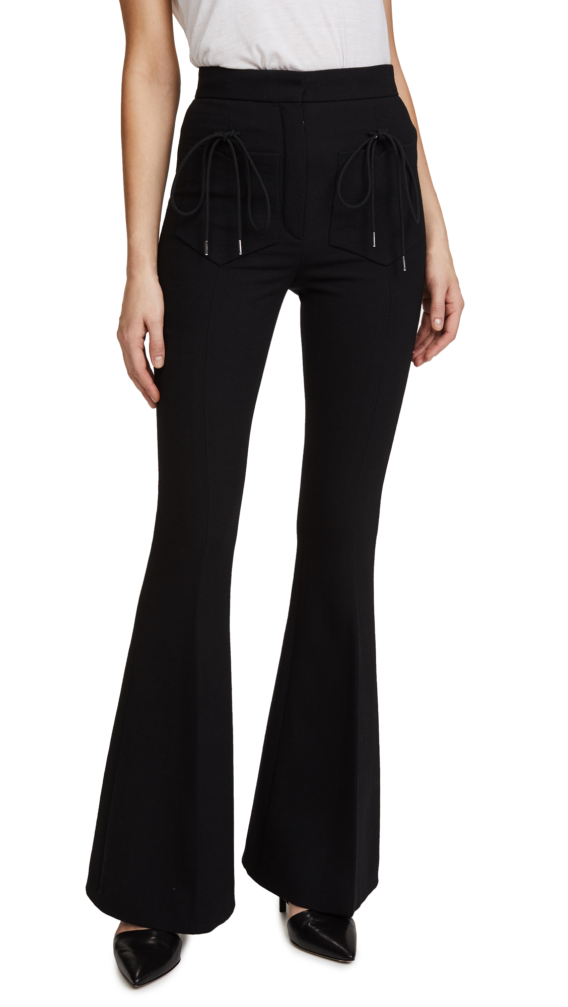 Nina Ricci Flared Wool Crepe Trousers - Black