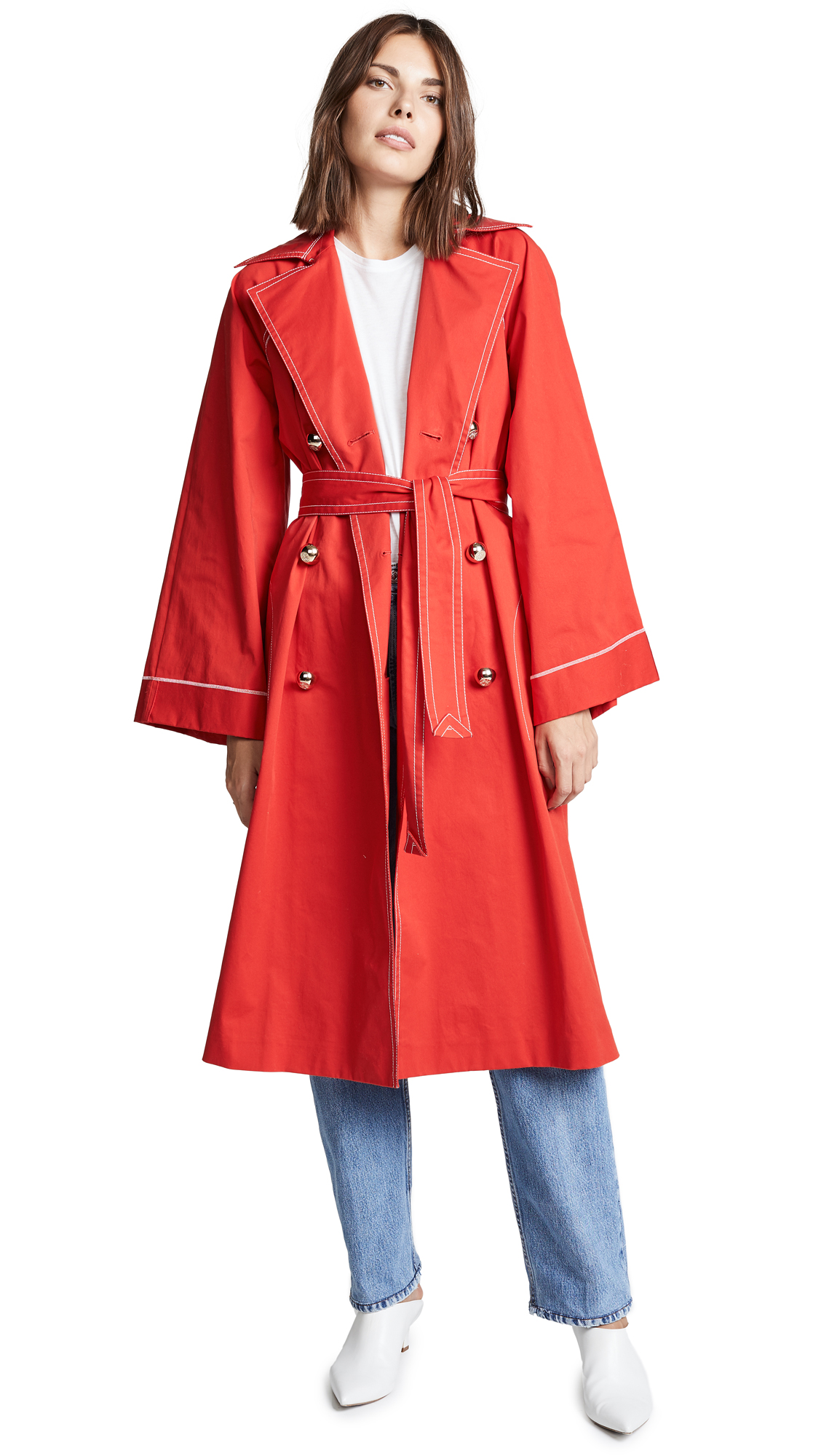 Nina Ricci Red Trench Coat - Red