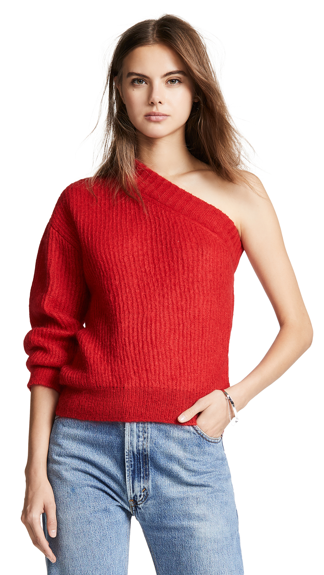 Nina Ricci Mohair One Sleeve Sweater - Red