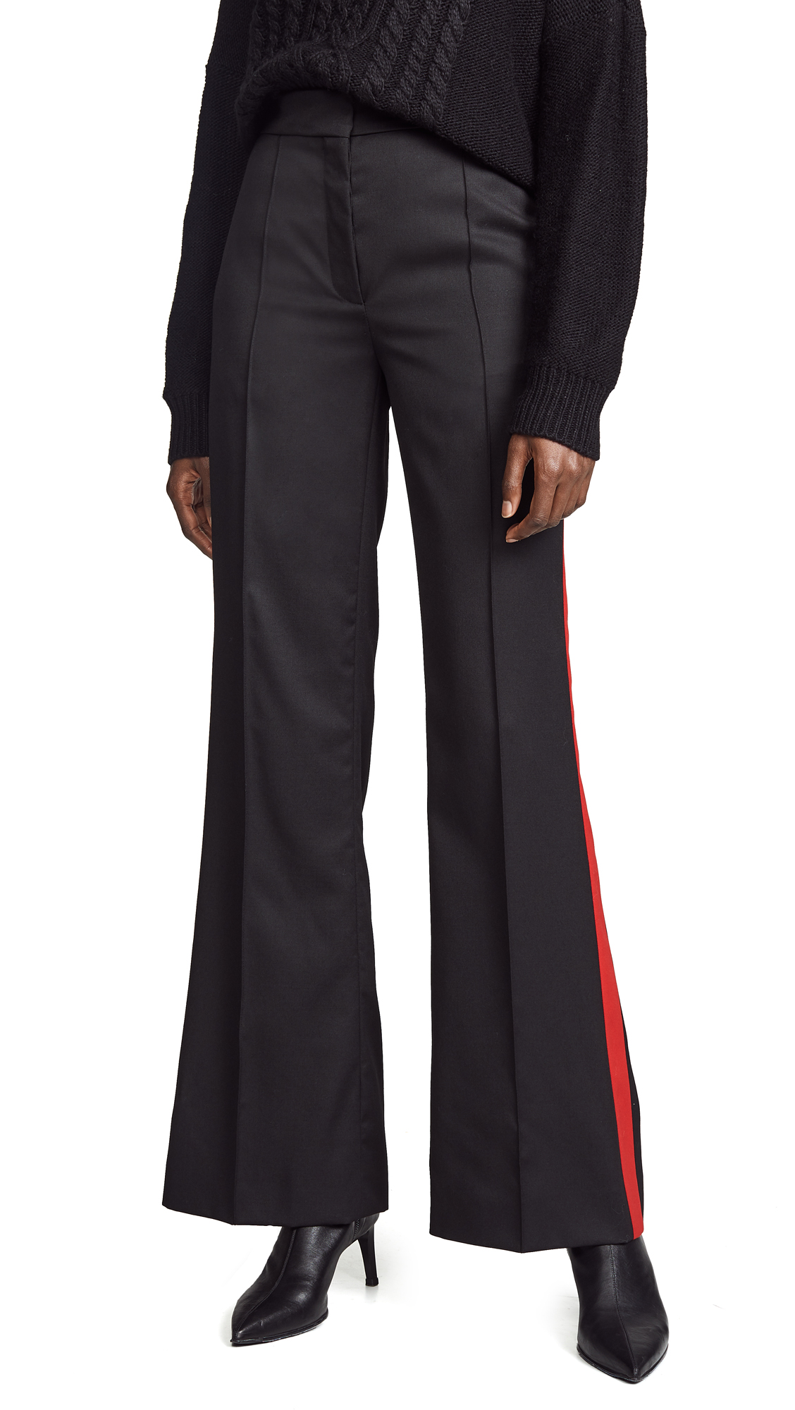 Nina Ricci Contrast Band Trousers - Black/Red