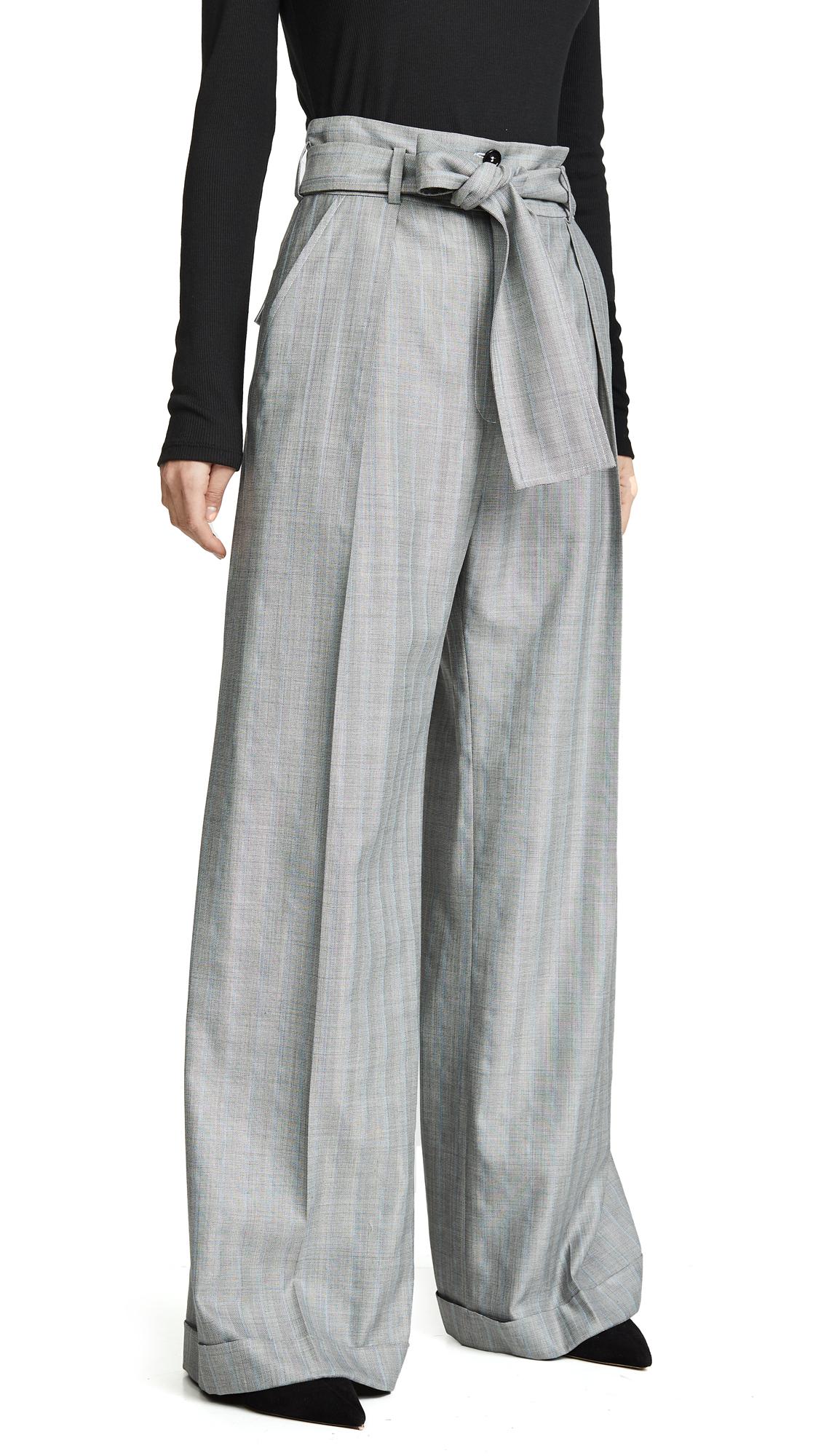 Nina Ricci Tie Waist Pinstripe Pants - Grey/Blue Pinstripe
