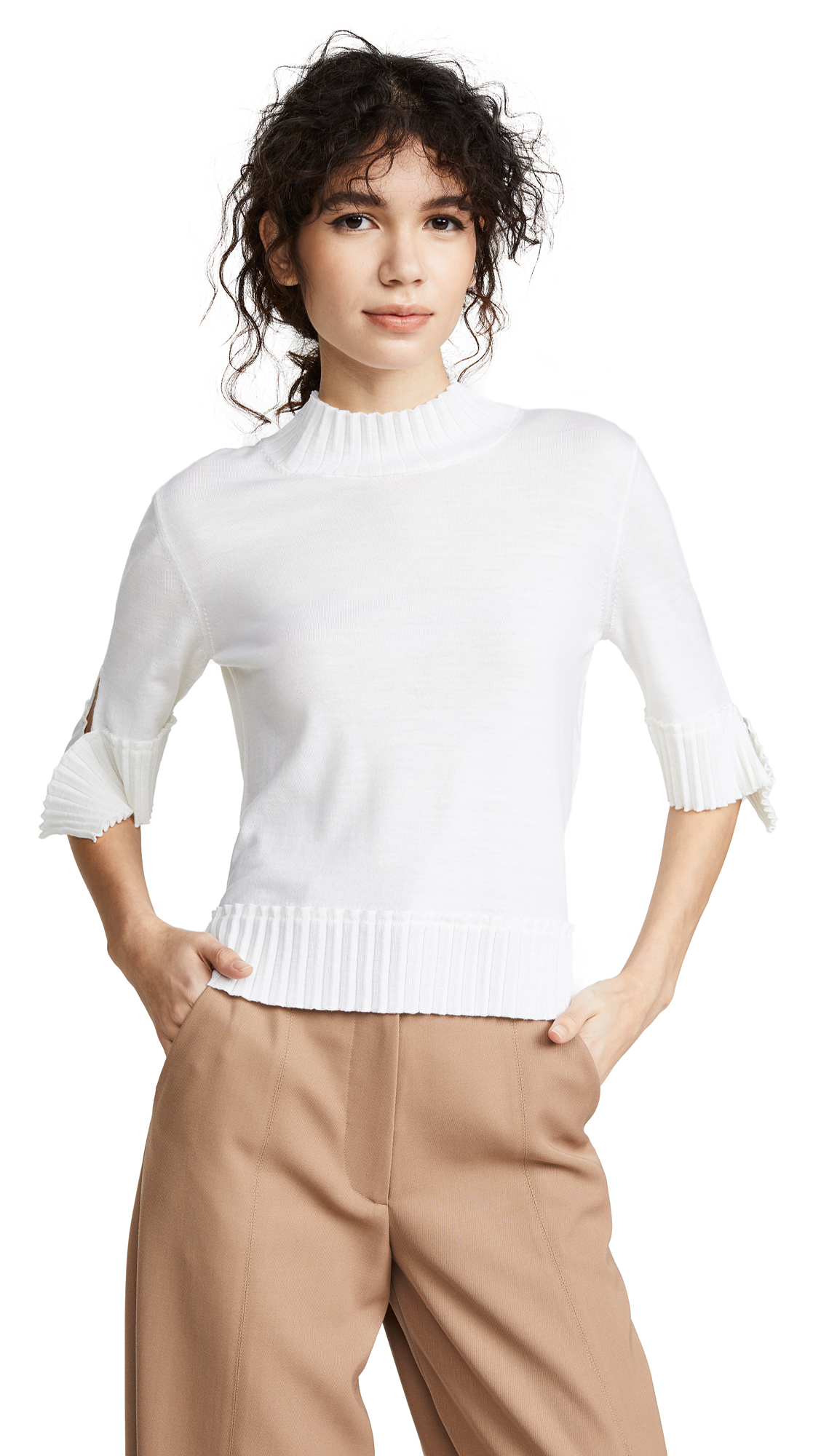 Nina Ricci Pleated Knit Sweater - Natural White