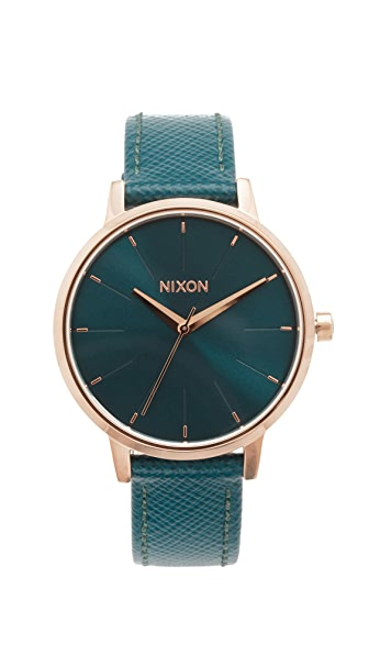 Nixon Lux Life Kensington Leather Watch - Rose Gold/Teal