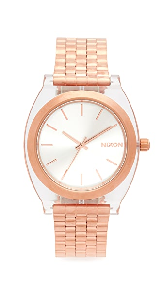 Nixon The Time Teller Acetate Watch - Rose Gold/Clear