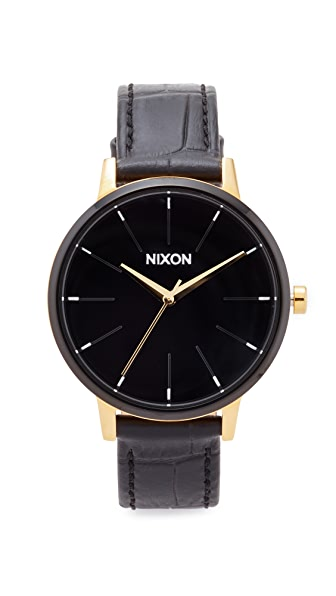 Nixon The Kensington Leather Band Watch - Gold/Black/White
