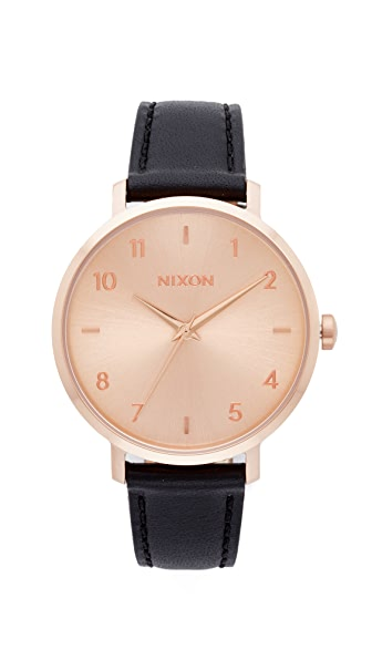 Nixon The Arrow Leather Watch - Rose Gold/Black