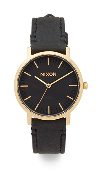 Nixon The Porter Leather Watch, 35mm In Black/Gold