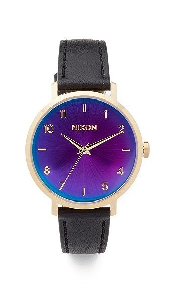 Nixon The Arrow Leather Watch, 38mm In Gold/Black/Rainbow