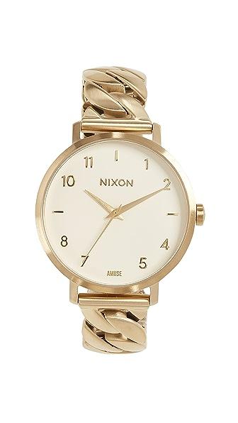 Nixon Arrow Chain Watch, 34mm In Gold/Vanilla/Amuse