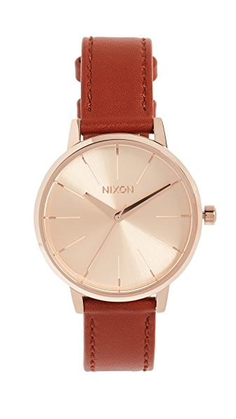 Nixon Kensington Leather Watch Pack, 33mm In Rose Gold/Saddle Black
