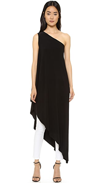 Norma Kamali Kamali Kulture One Shoulder Diagonal Tunic In Black