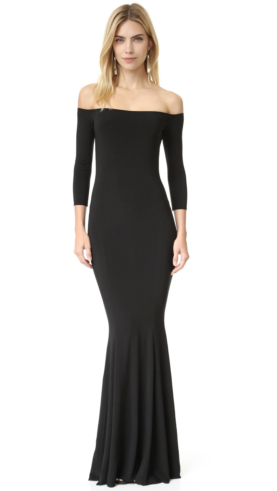 Norma Kamali Kamali Kulture Off Shoulder Fishtail Gown - Black