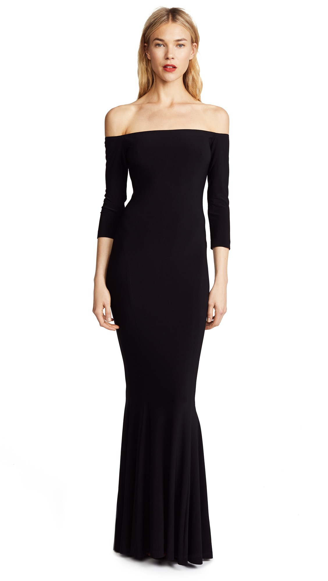Norma Kamali Kamali Kulture Off Shoulder Fishtail Gown In Black