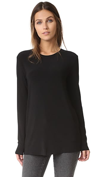 Norma Kamali Kamali Kulture Long Sleeve Crew Top - Black