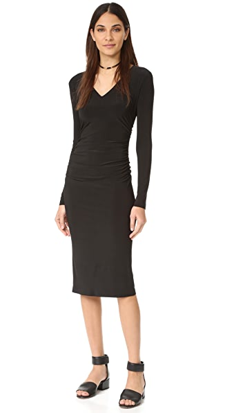 Norma Kamali Kamali Kulture V Neck Shirred Dress - Black