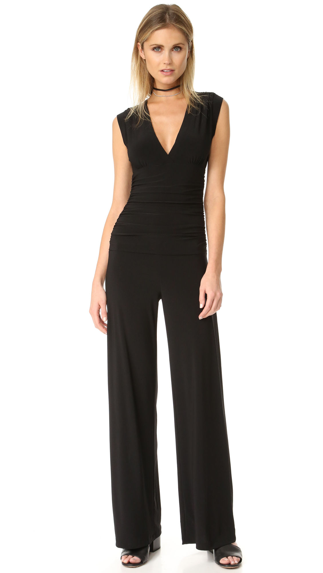 Norma Kamali Kamali Kulture Sleeveless V Neck Jumpsuit - Black