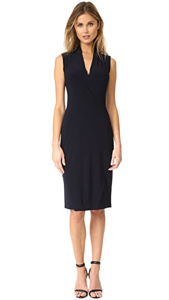 Norma Kamali Sleeveless Side Drape Dress - Midnight