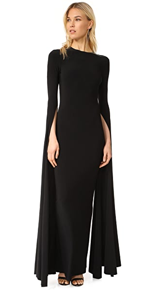 Norma Kamali Ribbon Sleeve Fitted Gown - Black