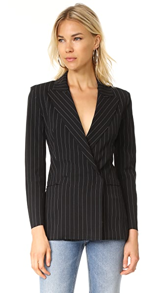 Norma Kamali Double Breasted Blazer - Black Pinstripe