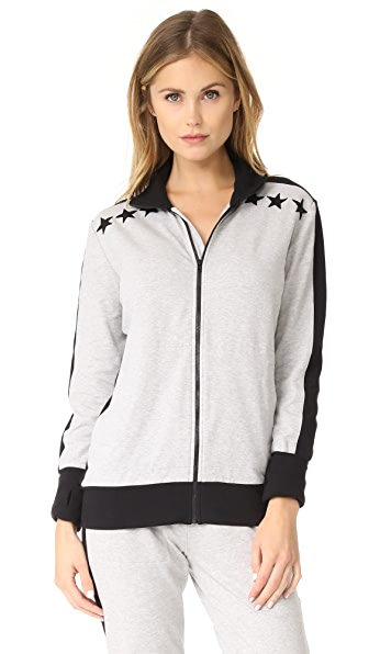 Norma Kamali Side Stripe Jacket With Stars - Heather Grey/Black