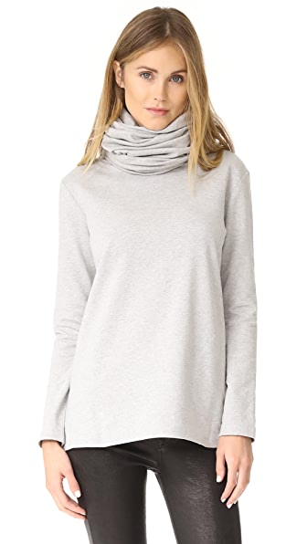 Norma Kamali Oversized Turtleneck Top In Heather Grey