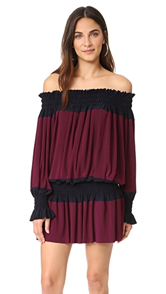 Norma Kamali Spliced Peasant Dress - Midnight/Plum