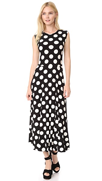 Norma Kamali Sleeveless Flare Dress In Polka Dot