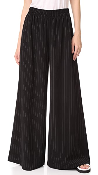 Norma Kamali Elephant Sweatpants - Black Pinstripe