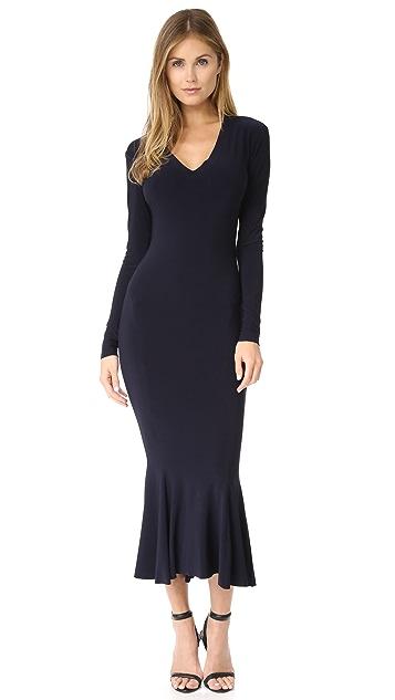 Norma Kamali Long Sleeve V Neck Fishtail Dress