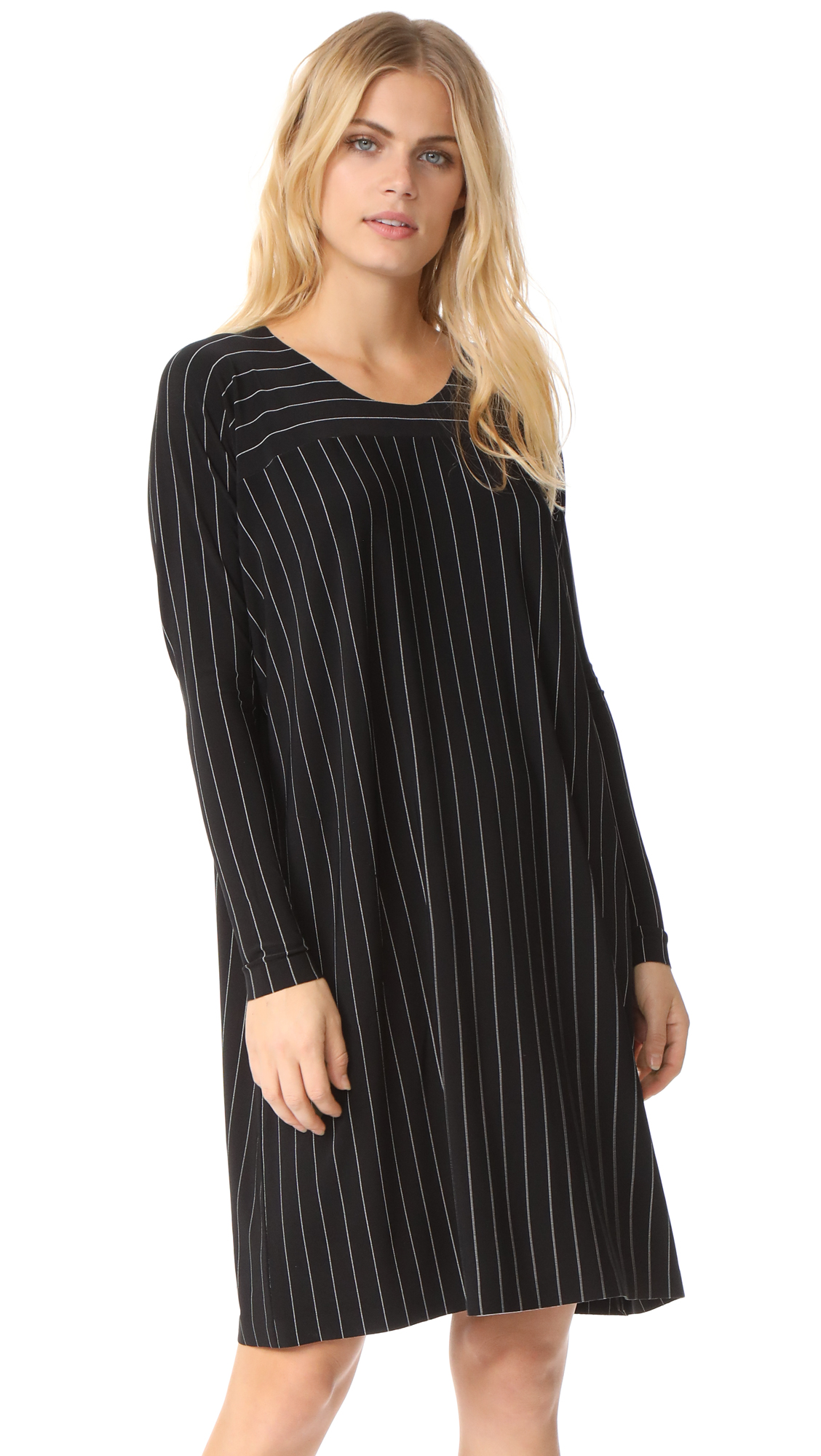 Norma Kamali Box Dress - Black Pinstripe