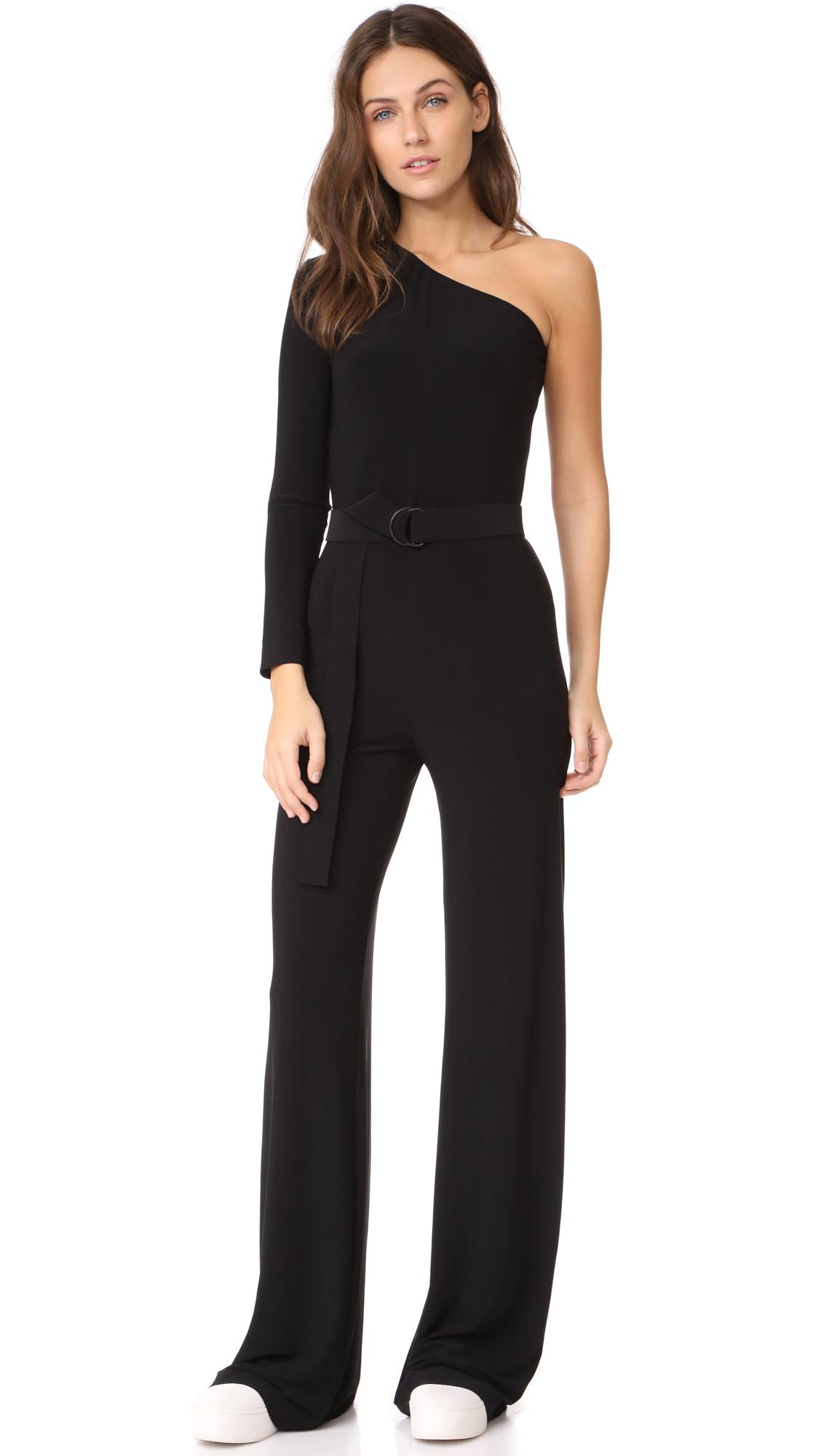 Norma Kamali One Shoulder Jumpsuit - Black