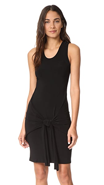 Norma Kamali Racer Side Tie Mini Dress In Black