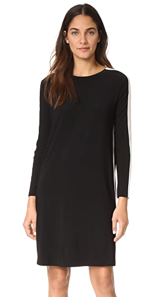 Norma Kamali Side Stripe Crew Dress In Black/Ivory