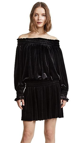 Norma Kamali Velour Peasant Dress In Black
