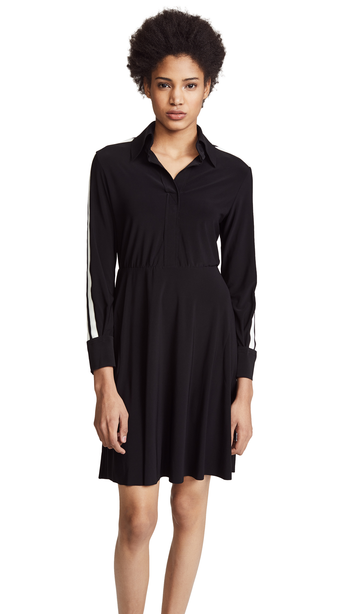 Norma Kamali Side Stripe Shirt Flared Dress - Black/Engineered Stripe