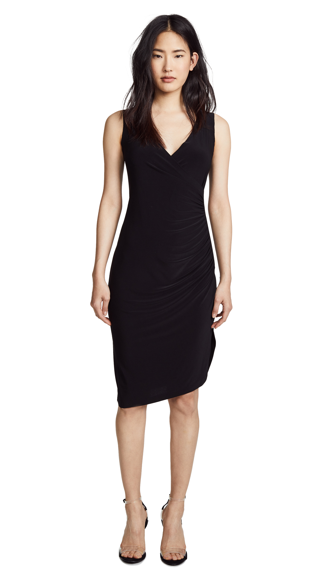 Norma Kamali Sleeveless Drape Dress In Black