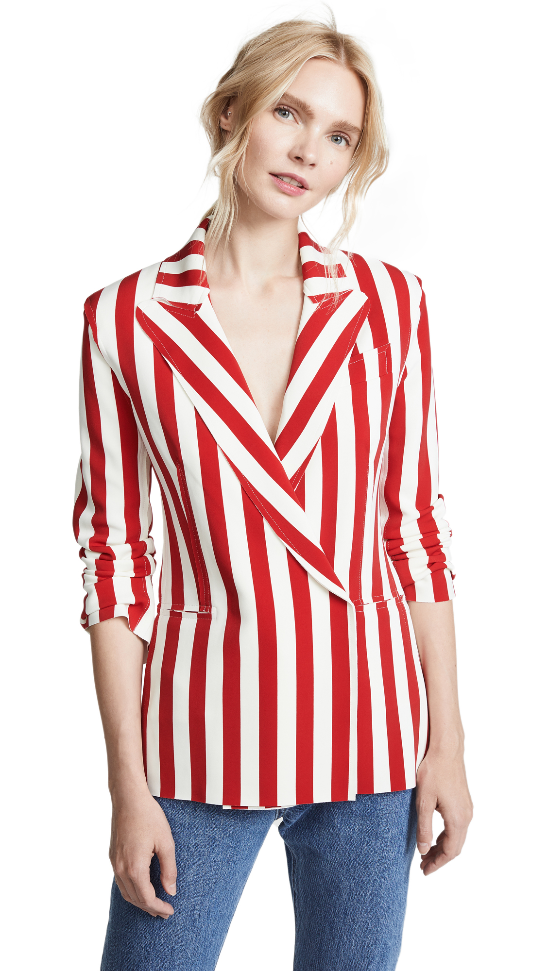 Norma Kamali Double Breasted Jacket In Tango 3/4 Stripe