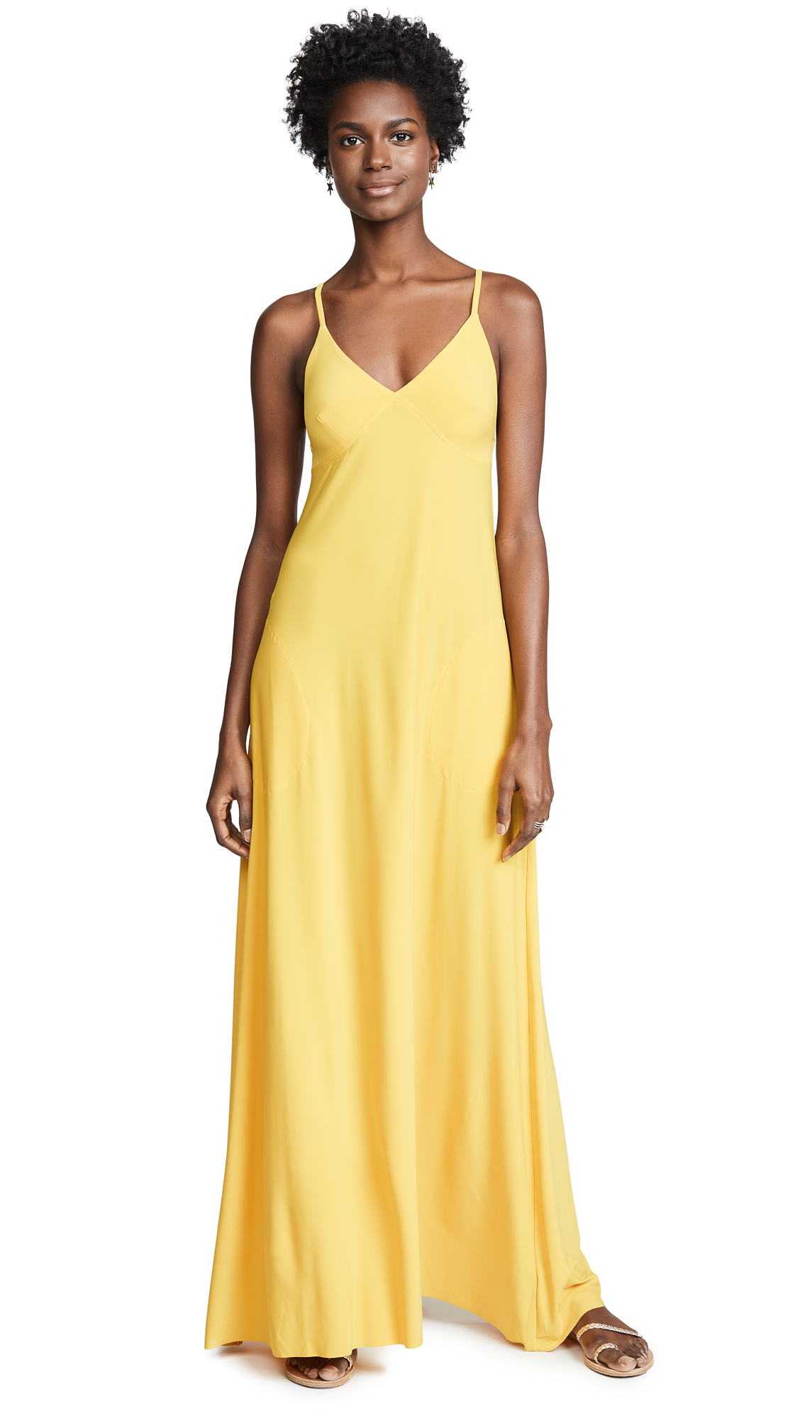 Norma Kamali A-Line Slip Dress - Gold